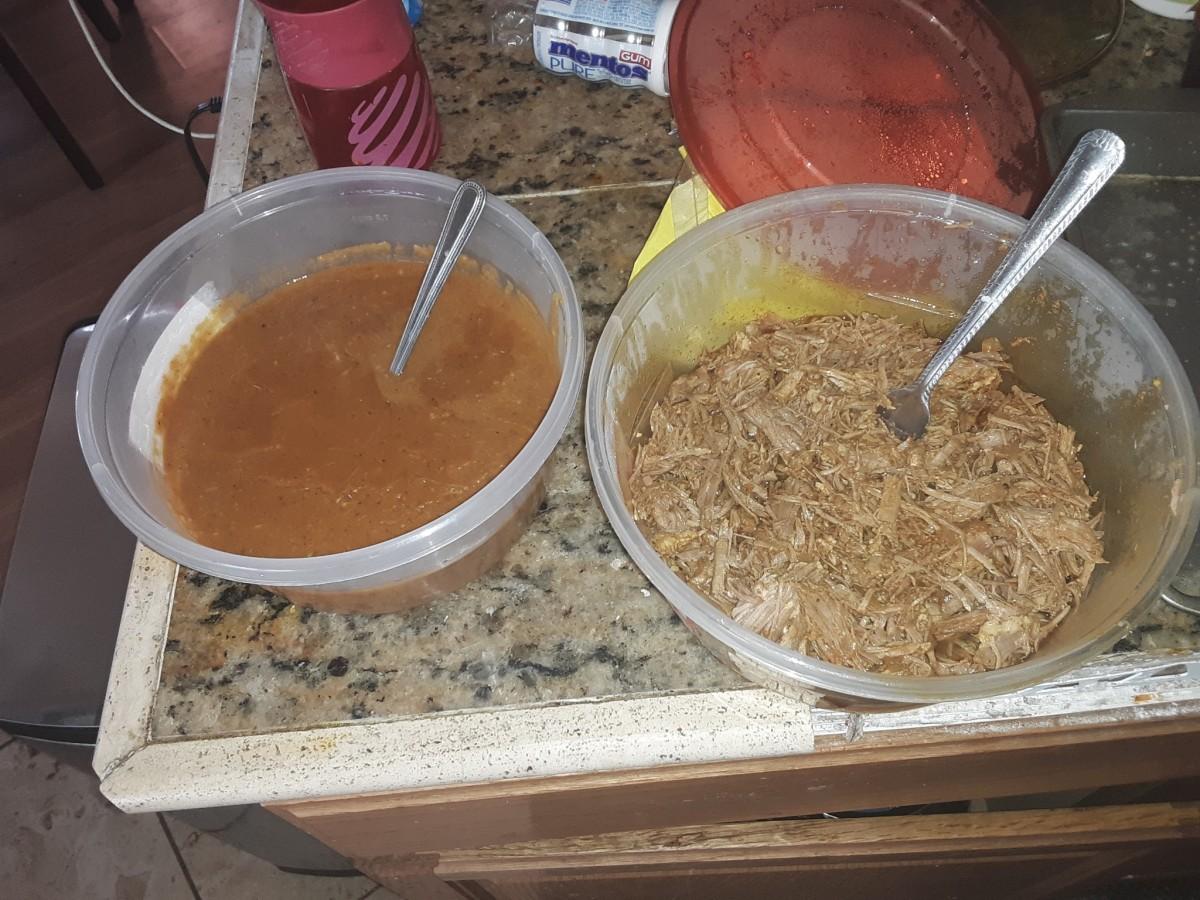 Enchilada sauce and carnitas