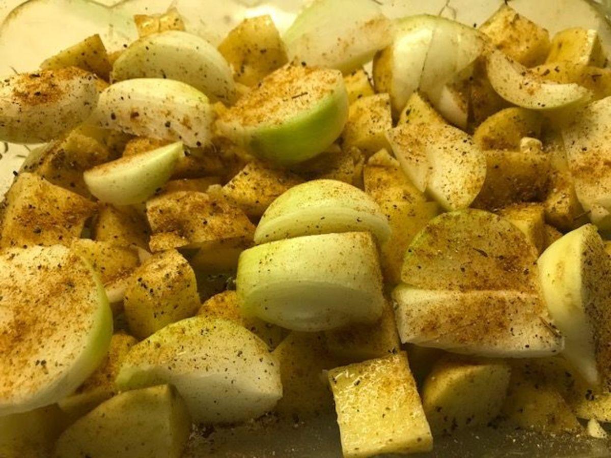 Seasoned chopped onions and potatoes