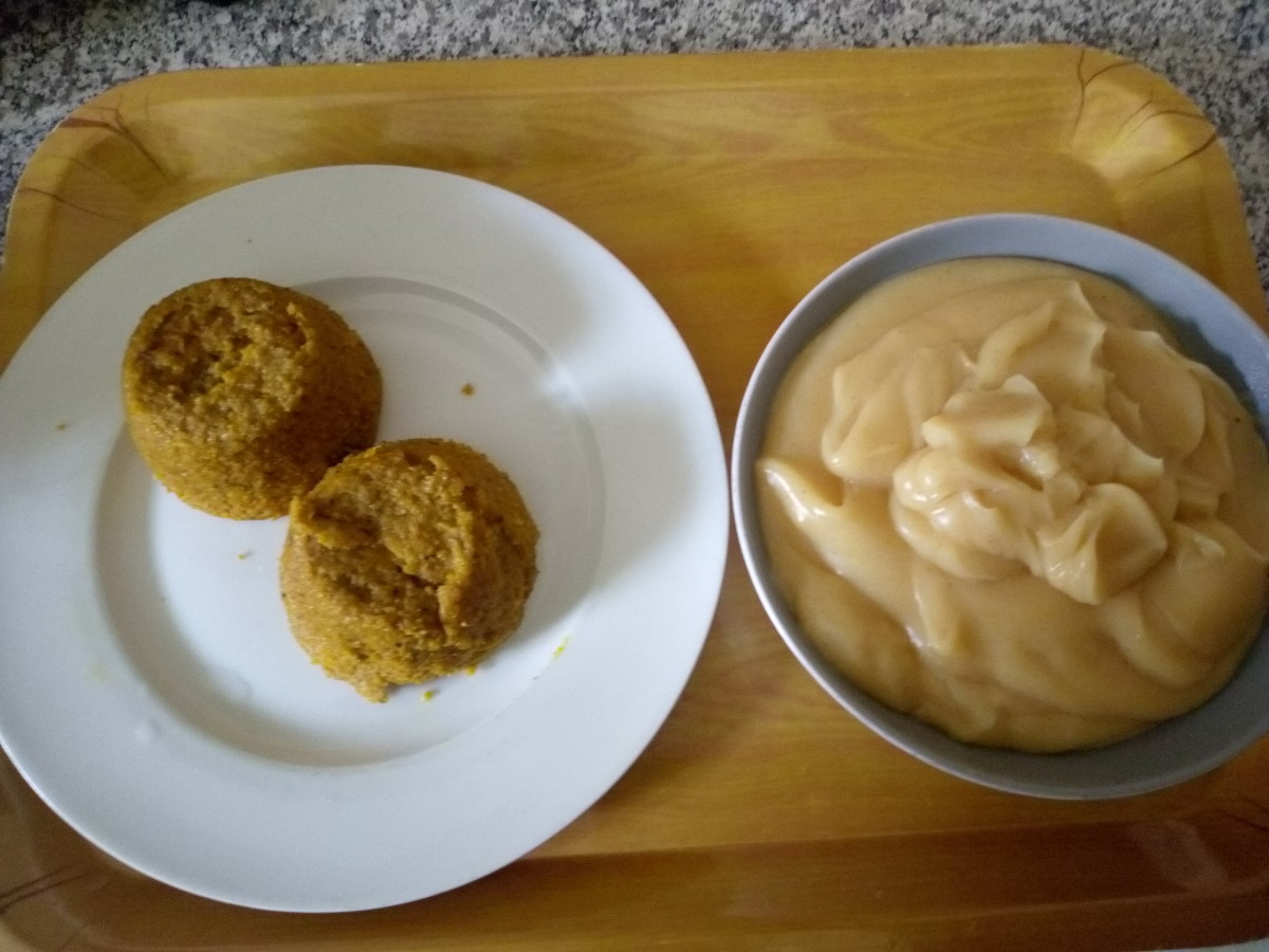 Beans cakes (moi moi) paired with pap for breakfast.