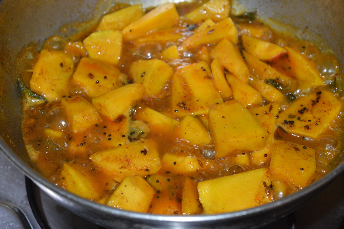 The pumpkin after cooking for a little while.