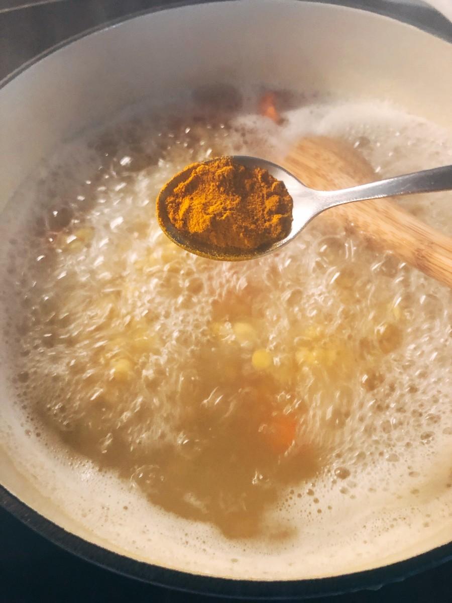Add the turmeric powder.