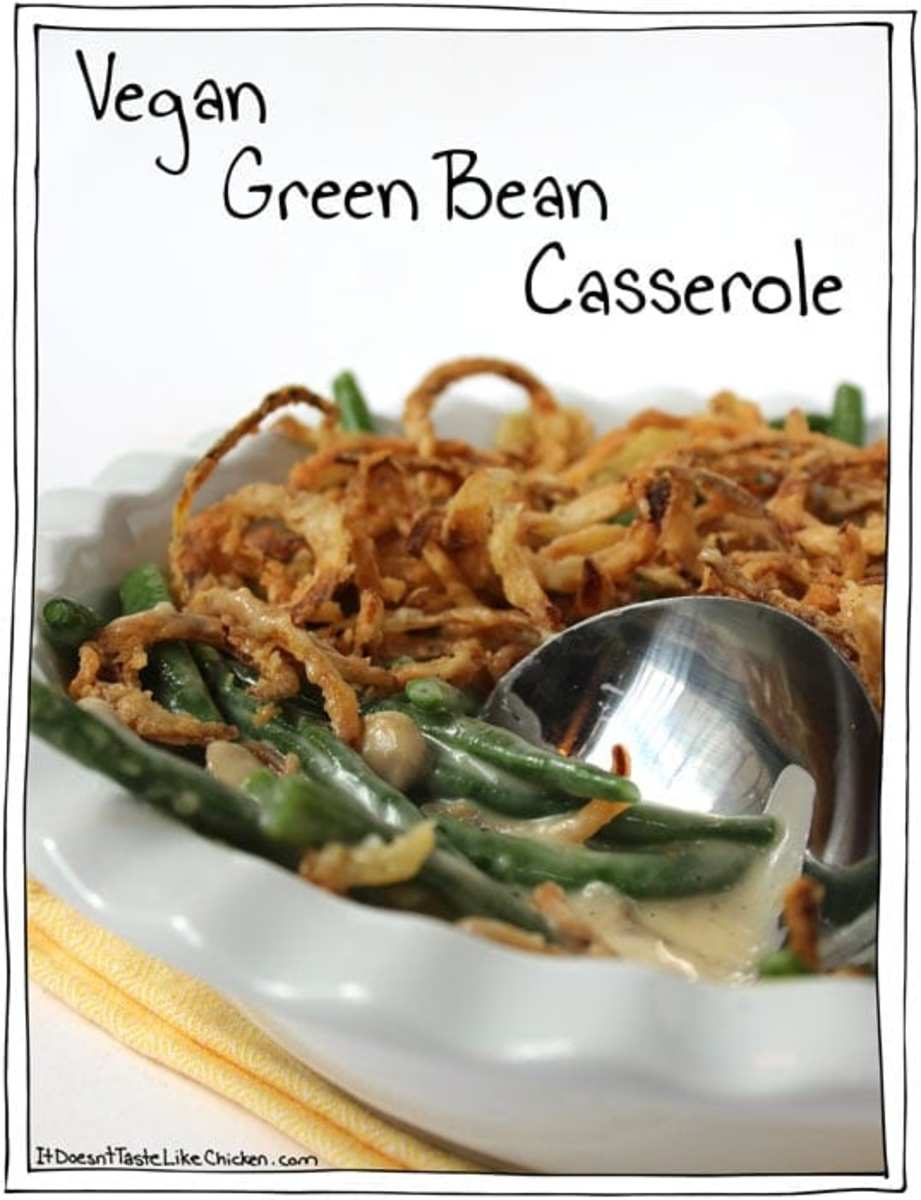 Green bean casserole with onion topping.