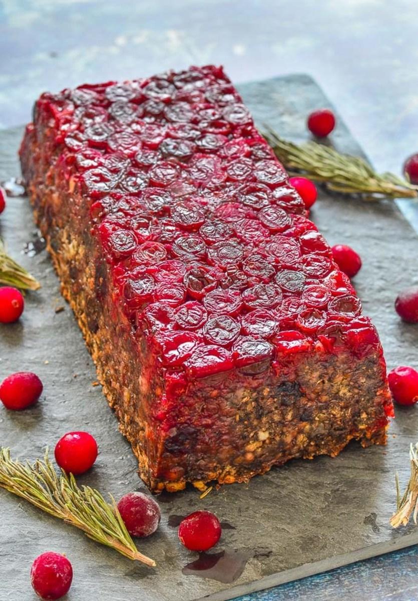 Mushroom cranberry lentil loaf.