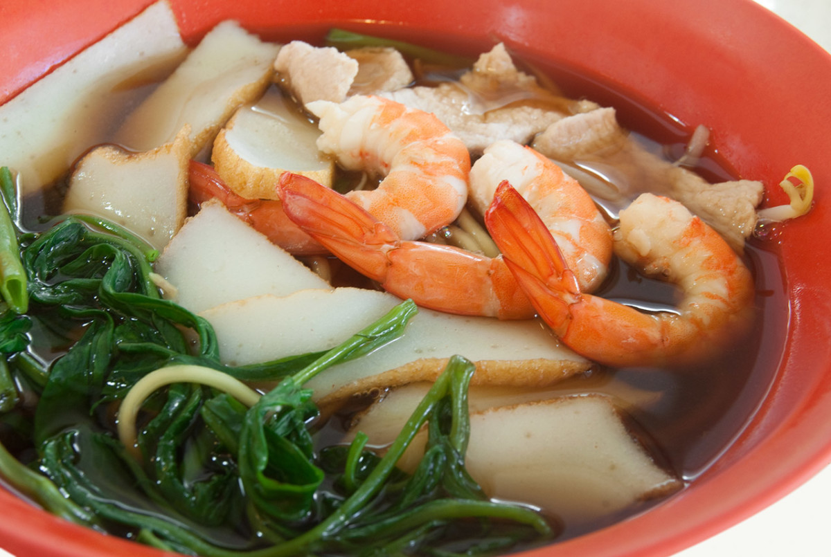 "Prawn noodles ""soup."" One of the most popular noodle dishes in Singapore."