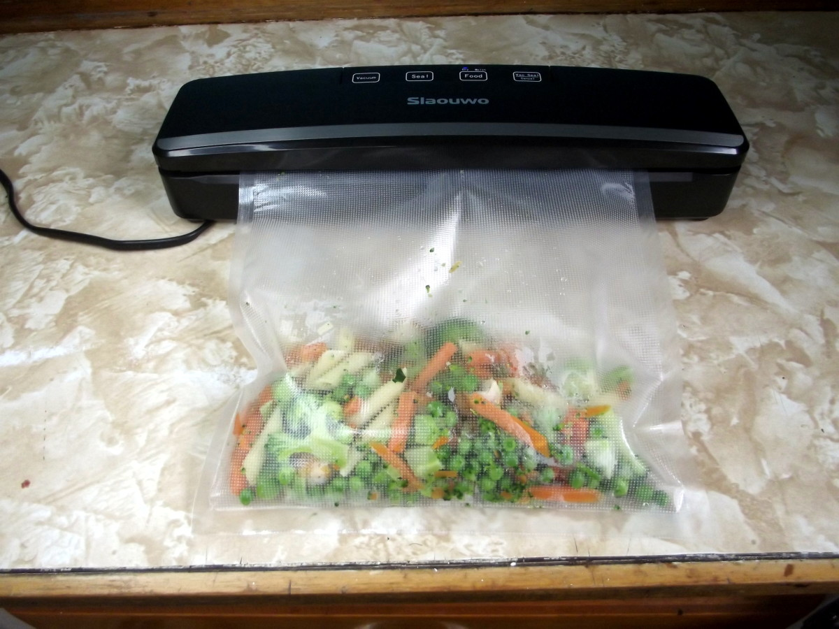 Just before bag of food is processed by Slaouwo V2 Vacuum Sealer.