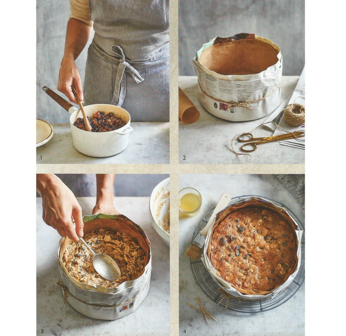 How to make a fig, cherry and almond English fruitcake with alcohol.