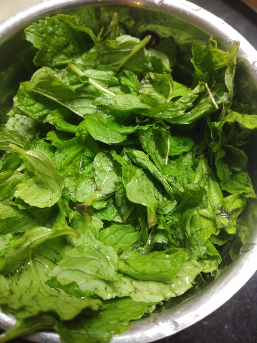 In a blender or mixer jar, add washed mint leaves.