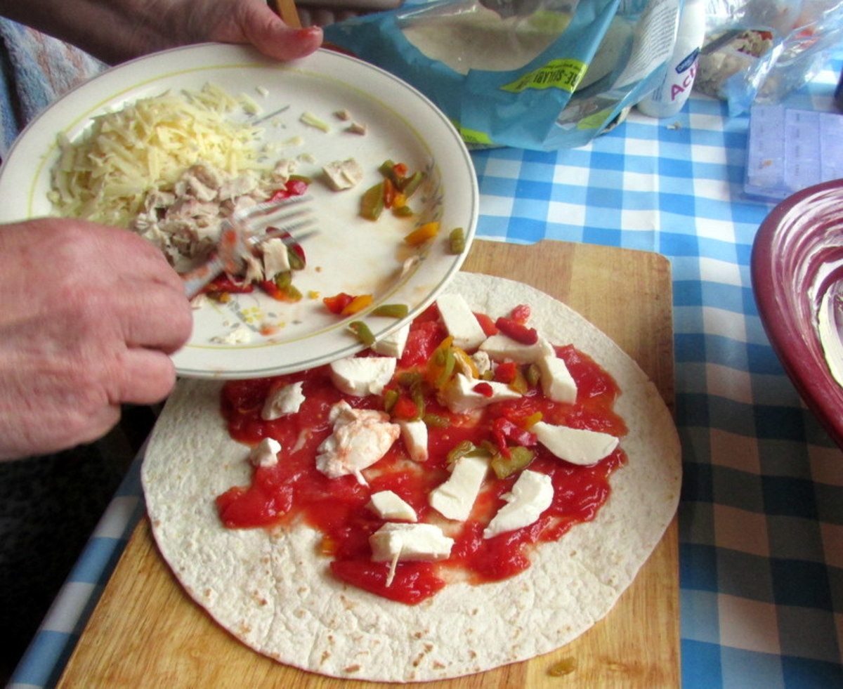 Vegetable, chicken and cheese wrap recipe