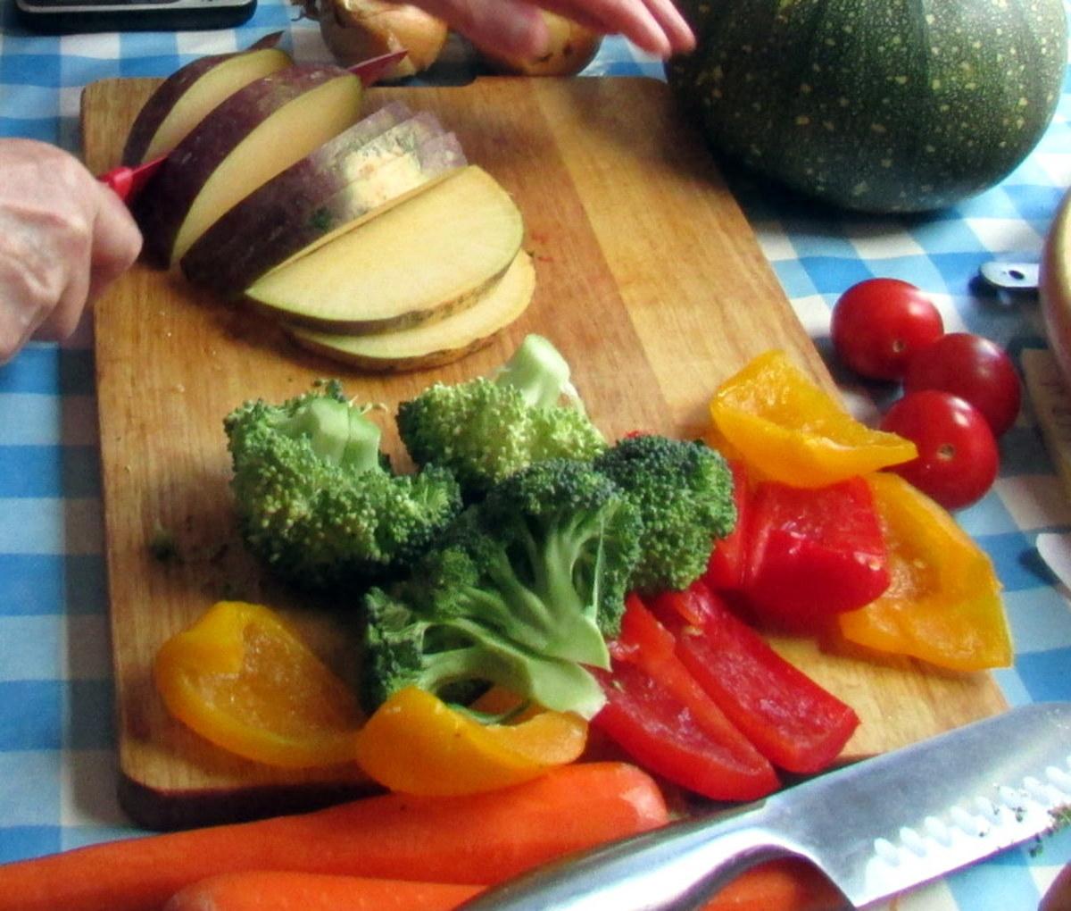 Preparing the vegatables for roasting in the oven