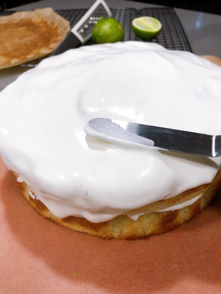 Smooth the frosting with icing spatula.