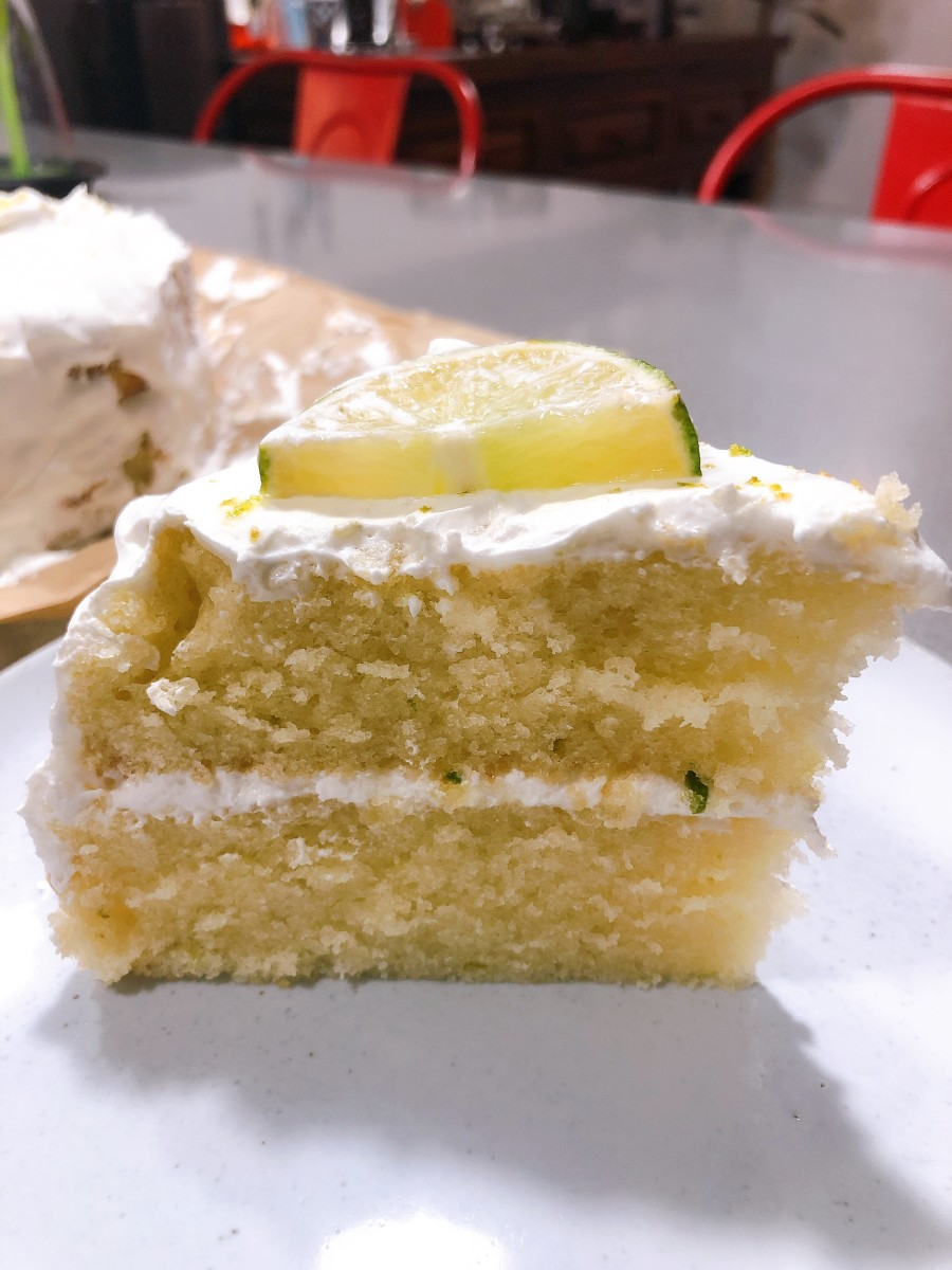 Slice the cake and enjoy this delicious and limey cake.