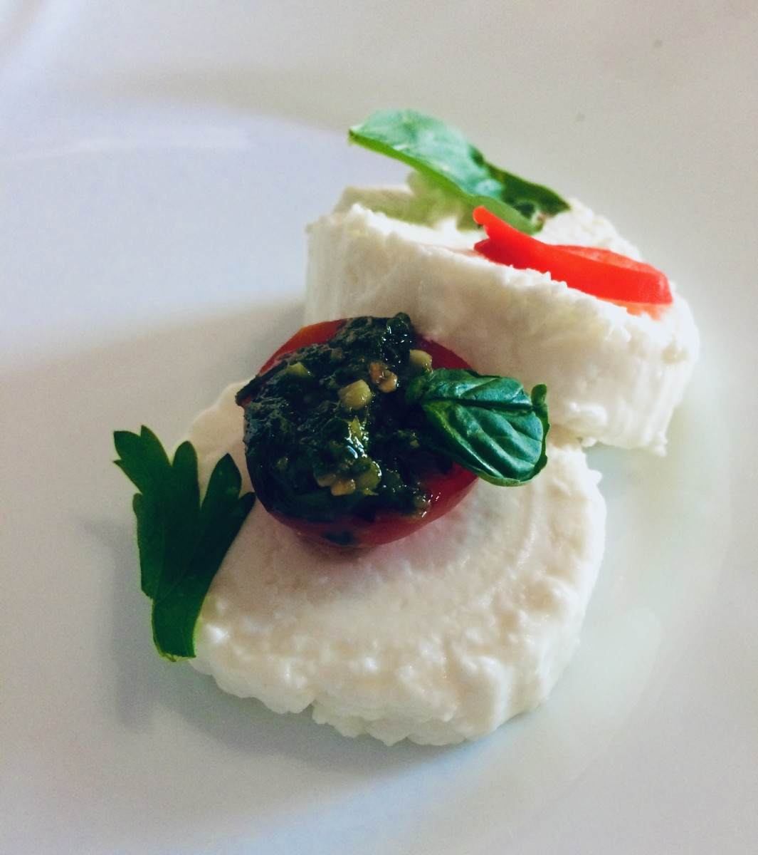 Goat Cheese and Pesto-Filled Cherry Tomatoes