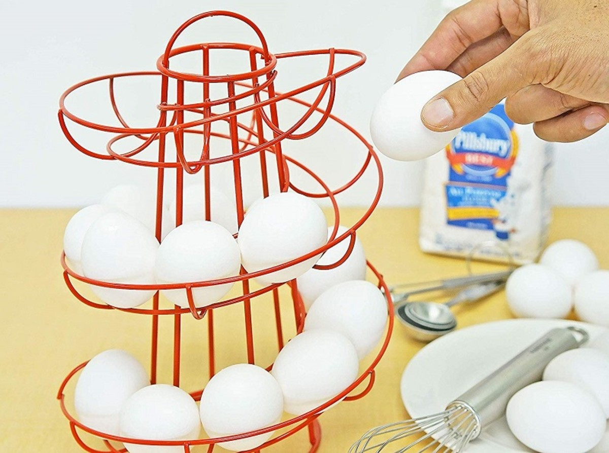 An egg helter-skelter. Take eggs from the bottom and refill at the top to ensure older eggs get used first,