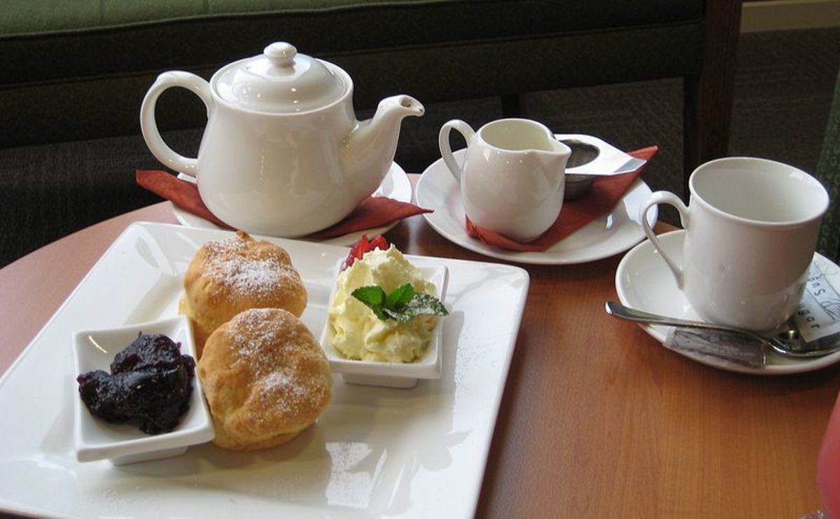 If you order a cream tea in a cafe or restaurant in England, this is what you will receive; scones, cream, strawberry or raspberry jam, and a pot of tea.