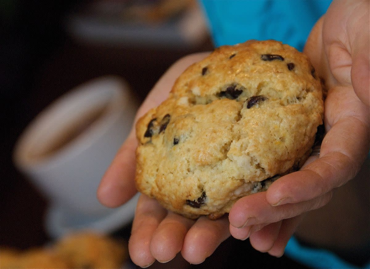 This freshly baked fruit scone tasted as good as it looked.