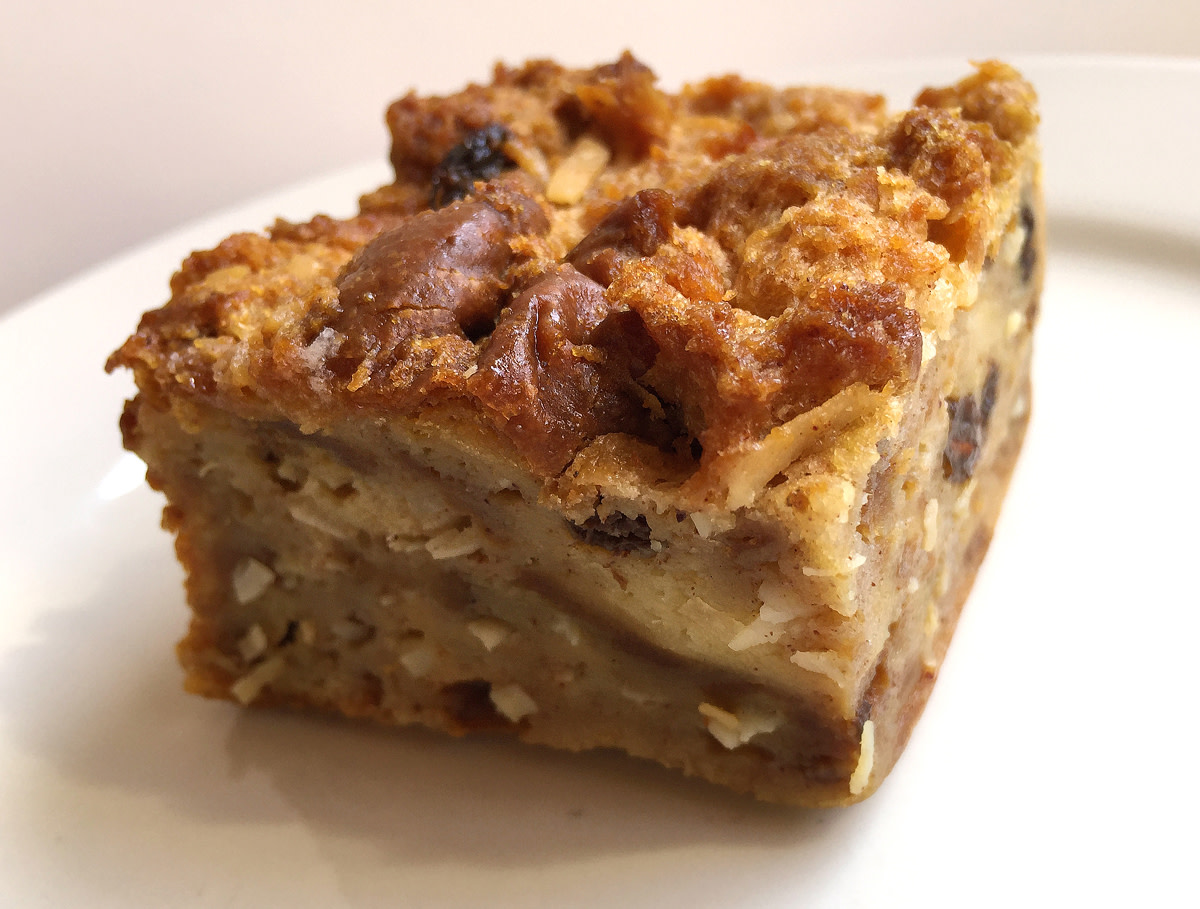Hawaiian bread pudding can be enjoyed warm or cold.