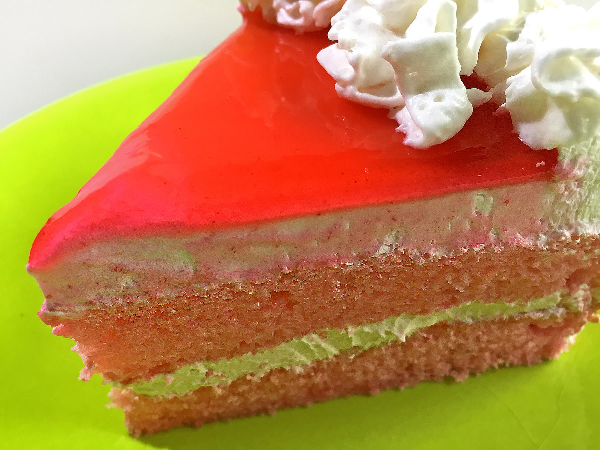 One can't wait to sink a fork into this slice of guava chiffon cake!