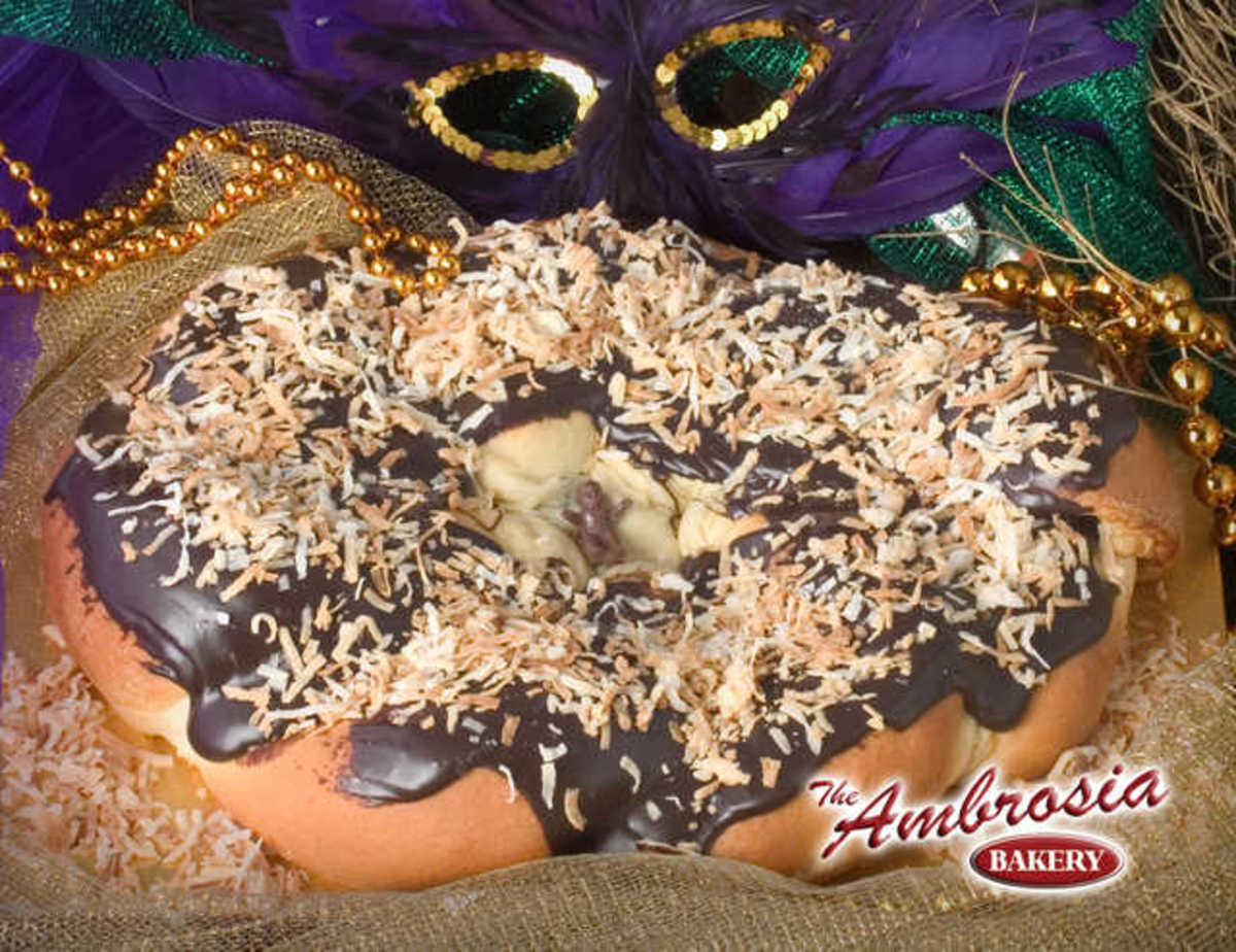 Ambrosia Bakery out of Baton Rouge is renowned for their Zulu style king cakes.