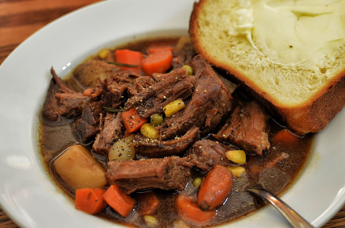 This tasty stew is made by slow cooking a cheap cut of beef.