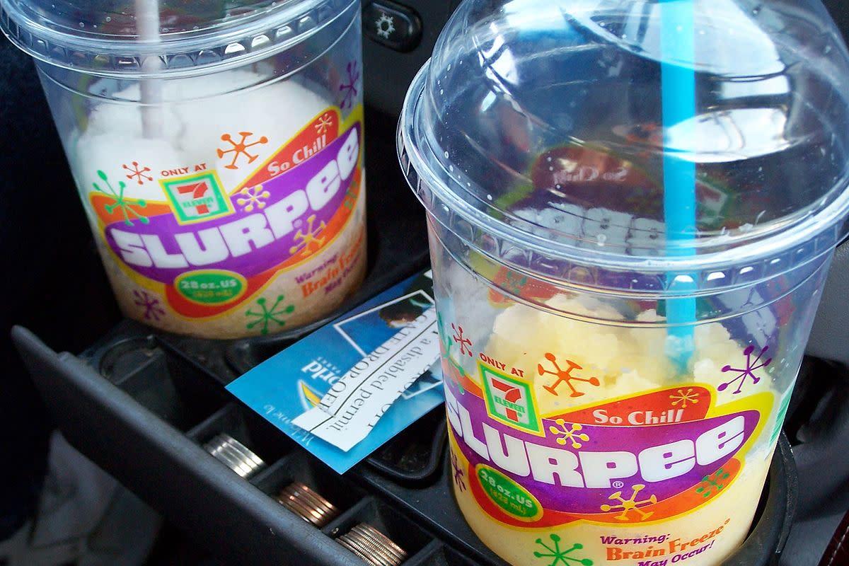 A crushed ice frozen soft drink has many different names; Slurpy, Slurpee, Squishy, Squishee, Brain Freezer, Slushy, and ICEE.