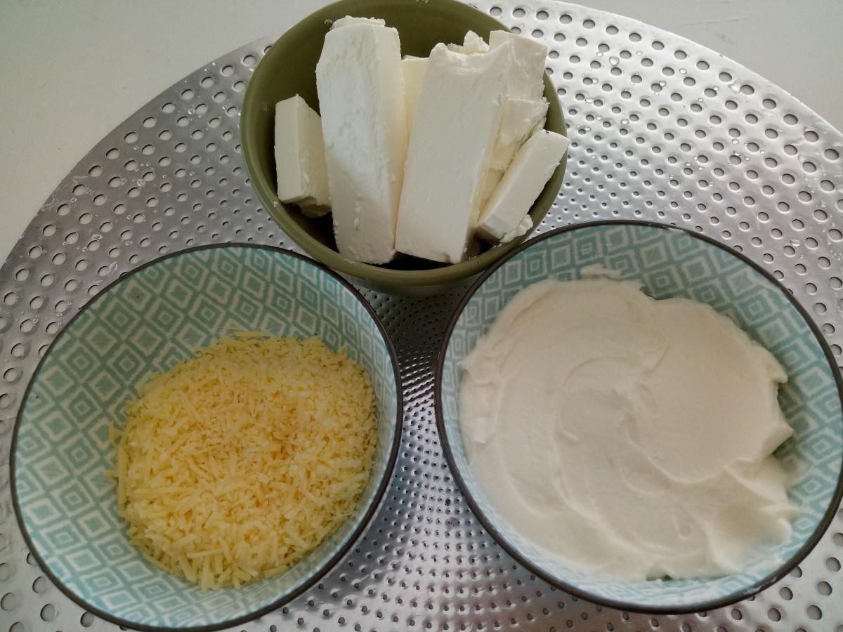Three types of cheeses: feta, Parmesan and ricotta. Great source of protein!