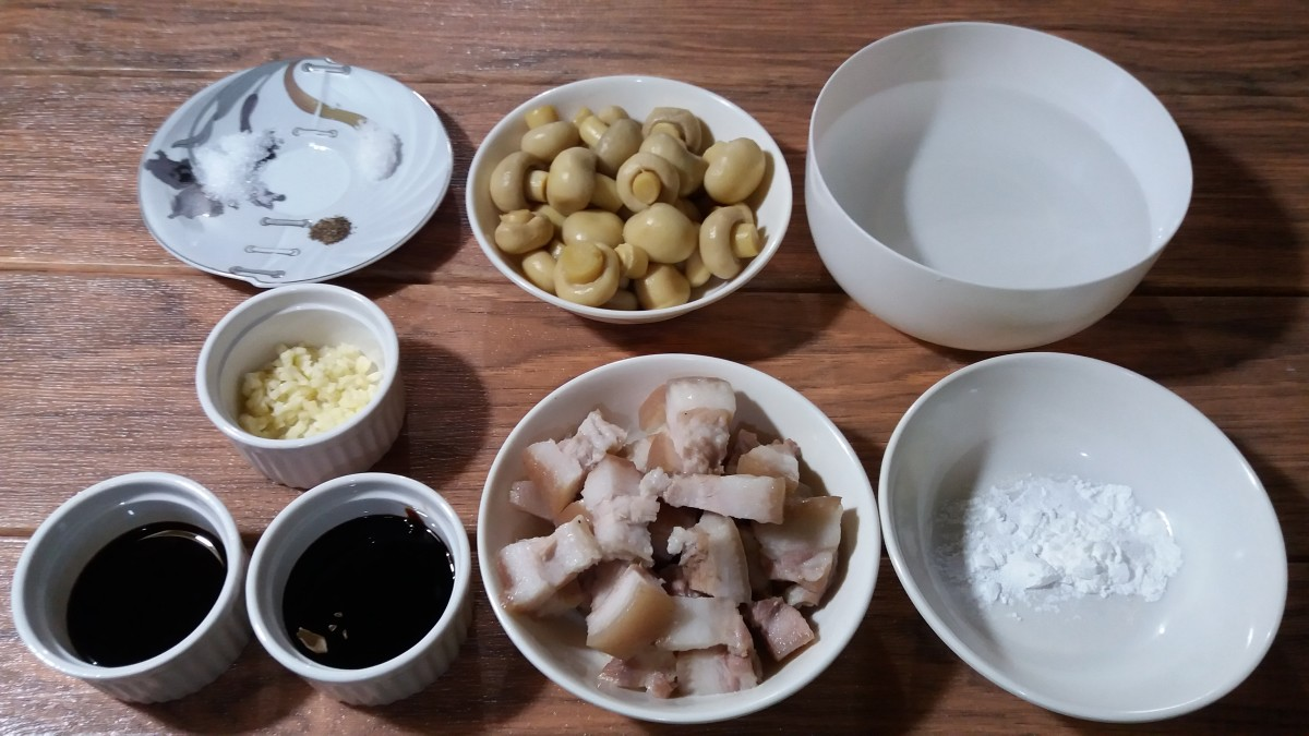 Pisngi ng baboy with mushroom in oyster sauce