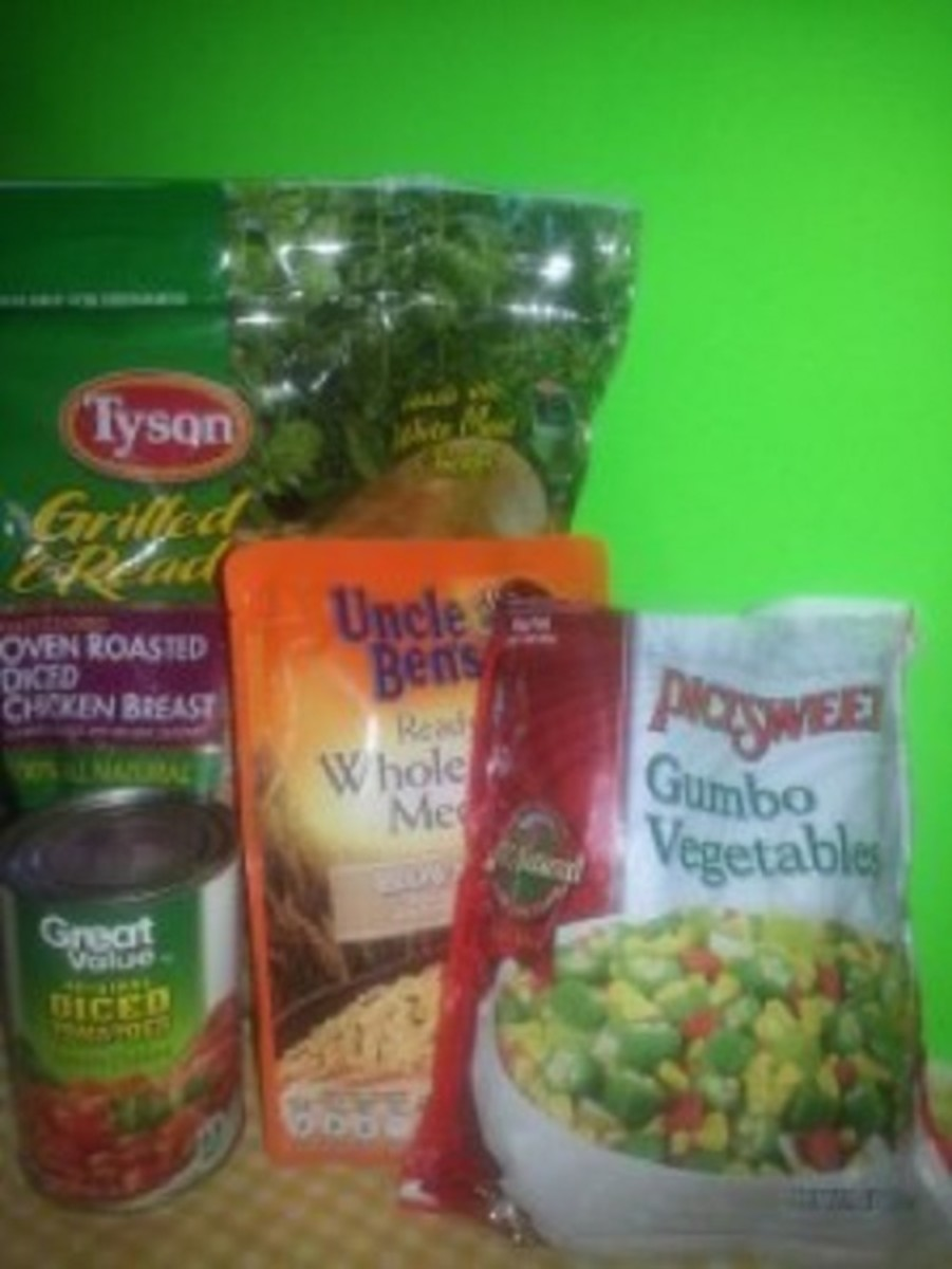 These are some of the ingredients I used for this short-cut gumbo recipe