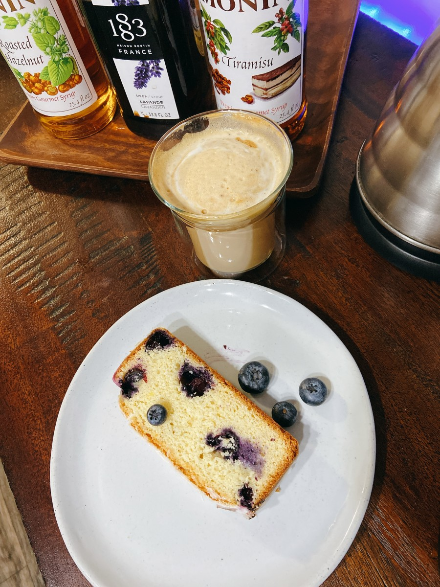 I snacked on a slice of lemon blueberry bread in the afternoon with a latte. Delicious!