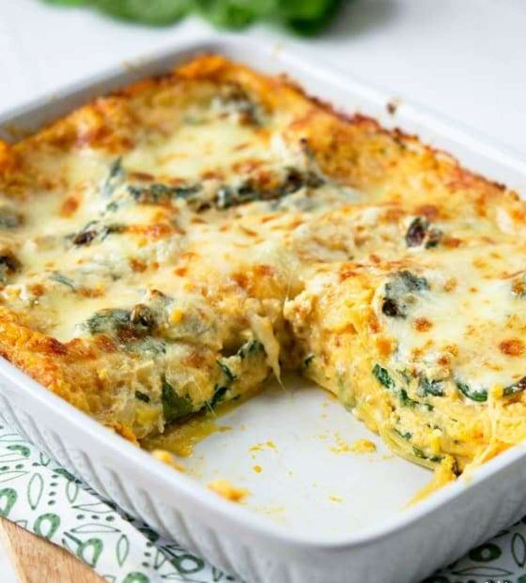Roasted Butternut Squash Spinach Lasagne
