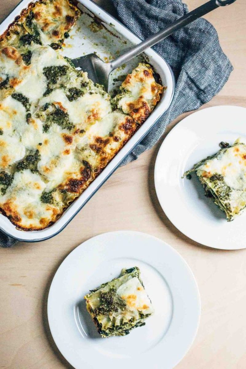 Three-Cheese Pesto Lasagne
