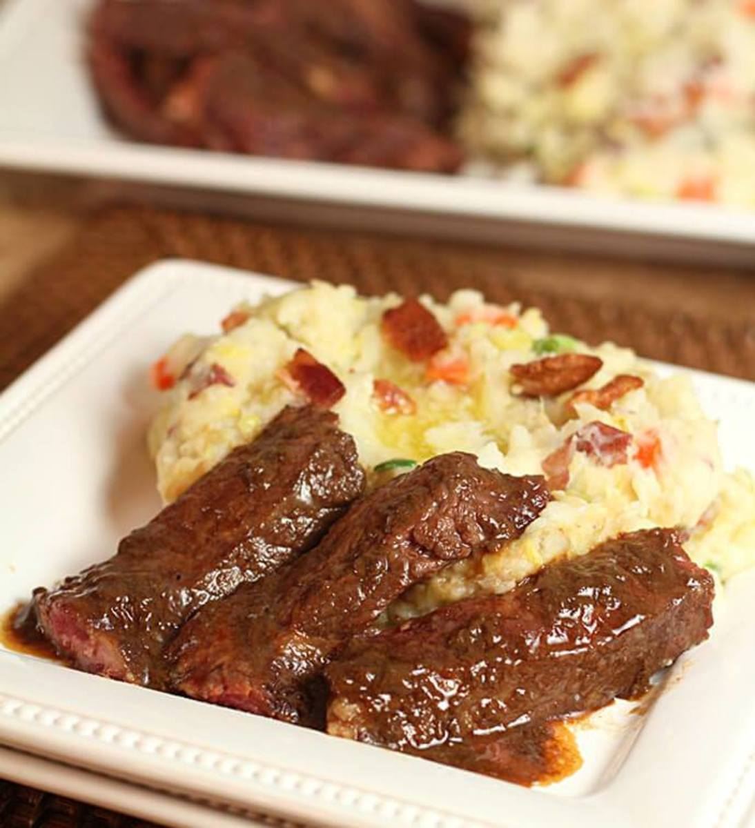 Bacon colcannon with Irish whiskey steak