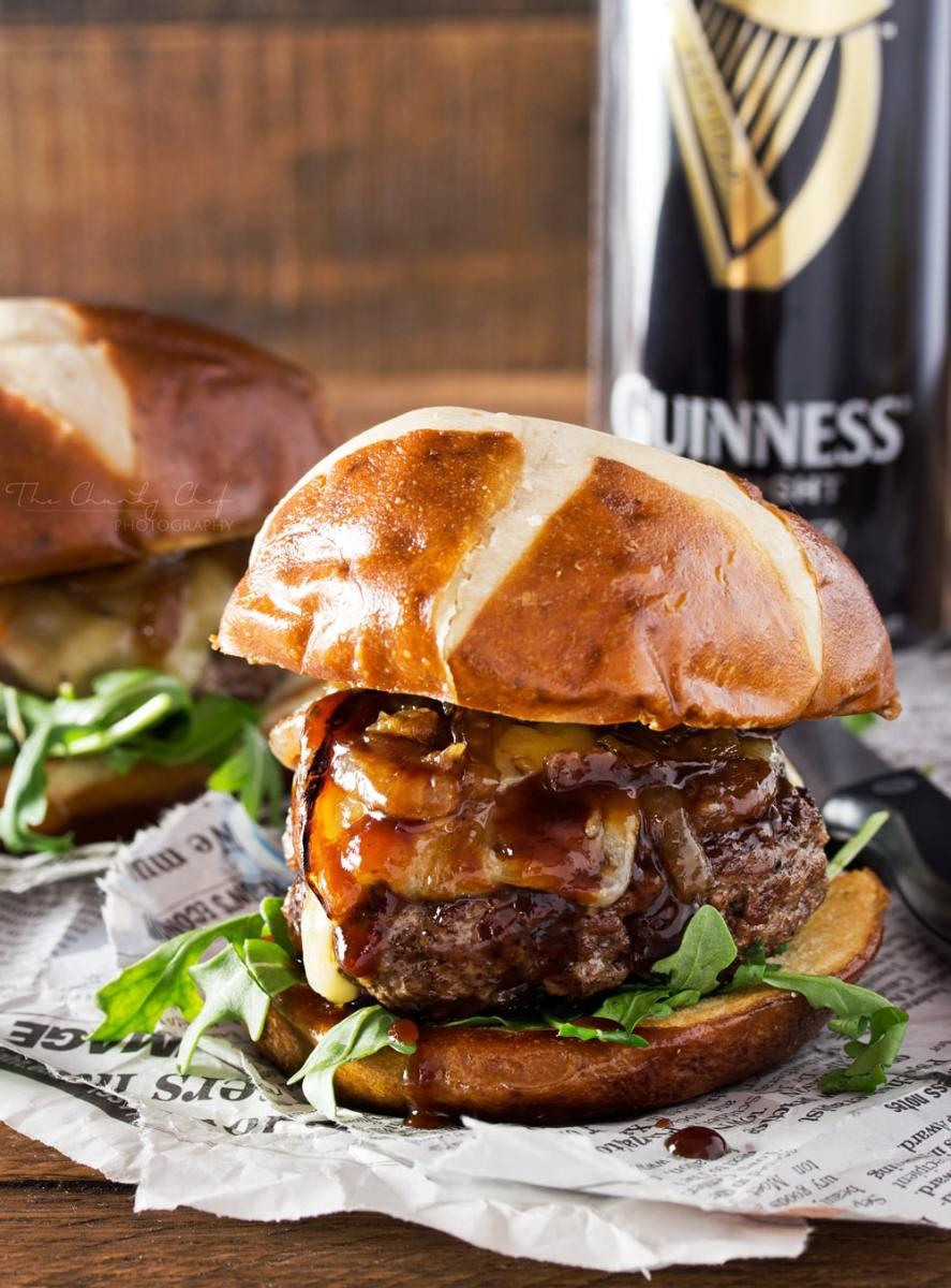 Irish whiskey glazed blue cheese burgers