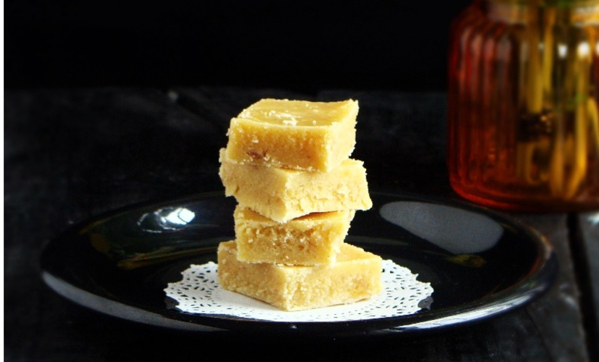 Mysore Pak, a traditional Indian sweet made with chickpea flour, clarified butter and sugar.
