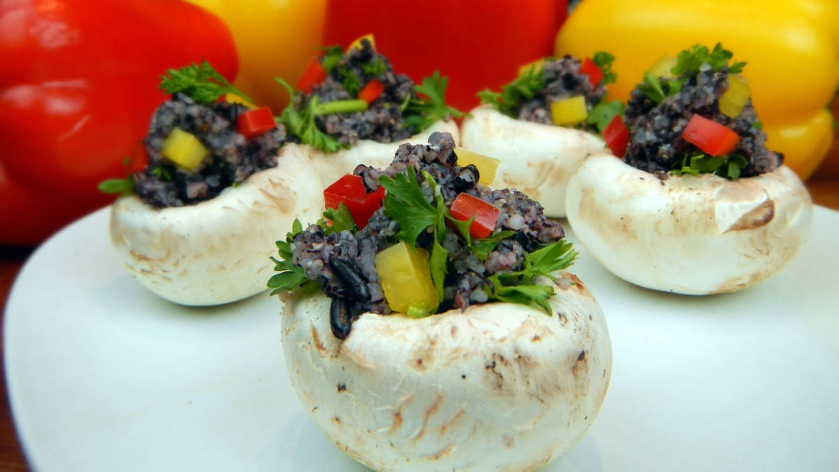Combine your favorite herbs and minced veggies to the raw black rice stuffing.
