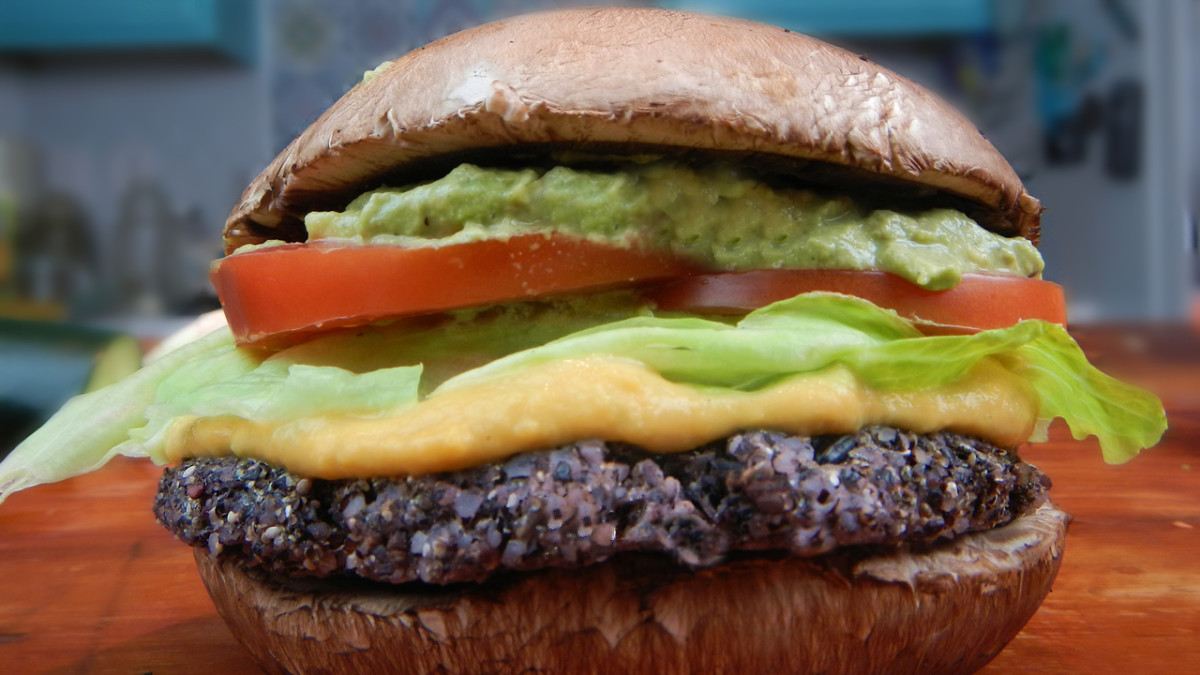 Sandwiched between two portabello mushroom buns, this seasoned raw black rice patty makes the burger!
