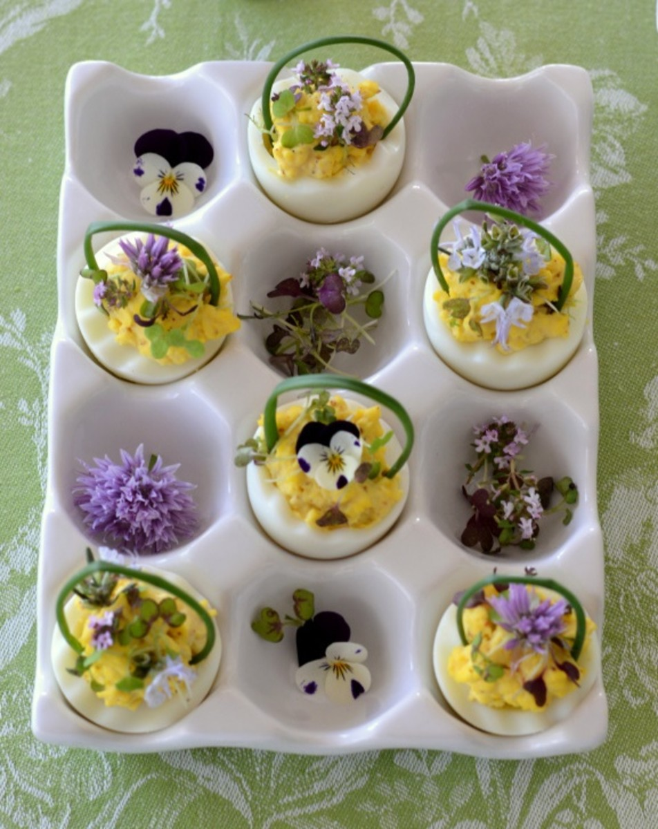 Deviled egg baskets with edible flowers