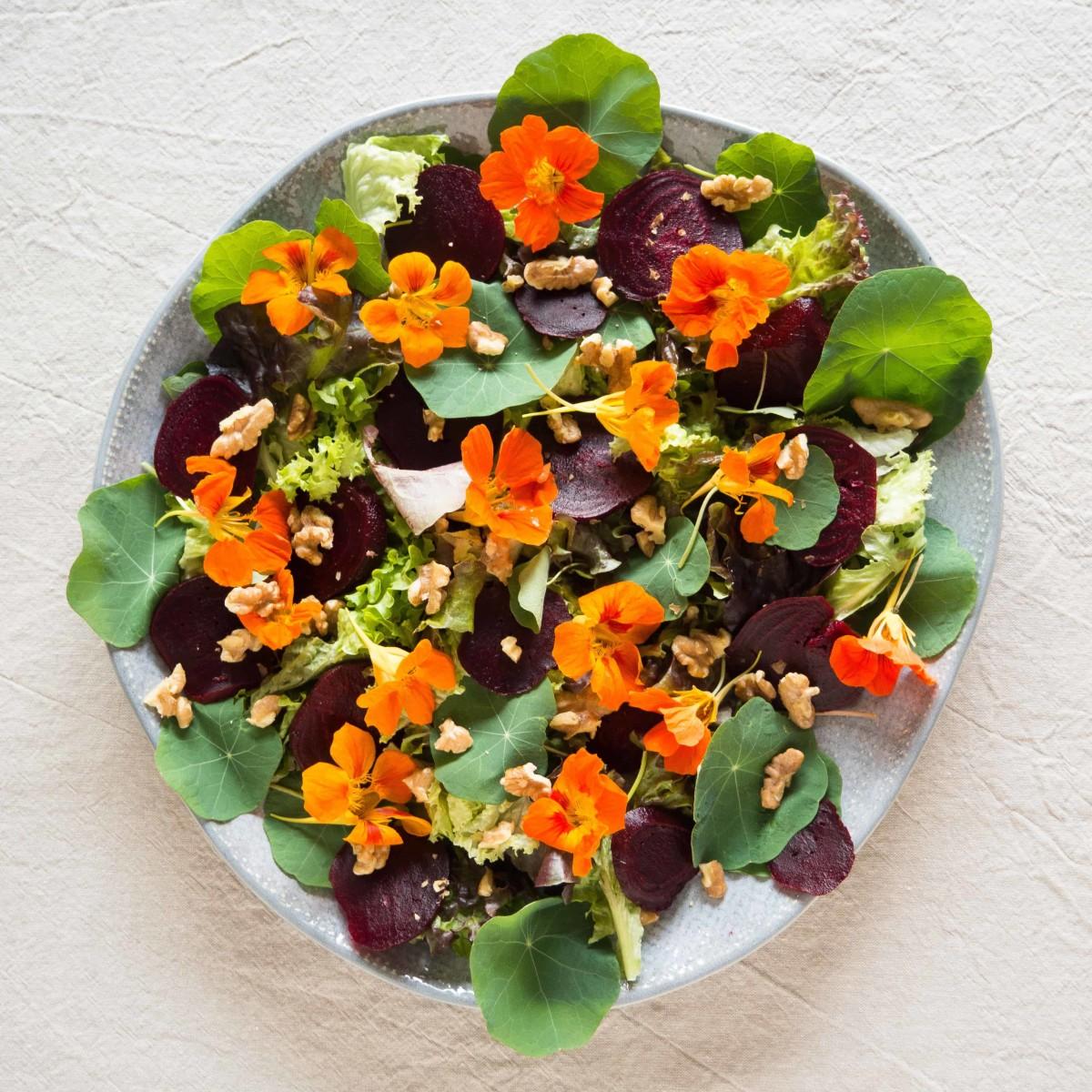 Nasturtium, beetroot, and walnut salad