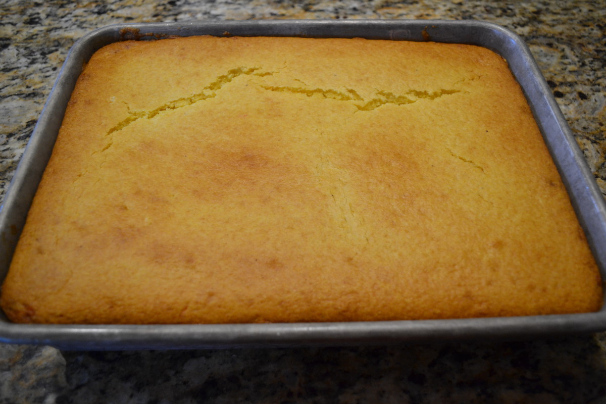 Bake until the top of the corn bread is golden brown.