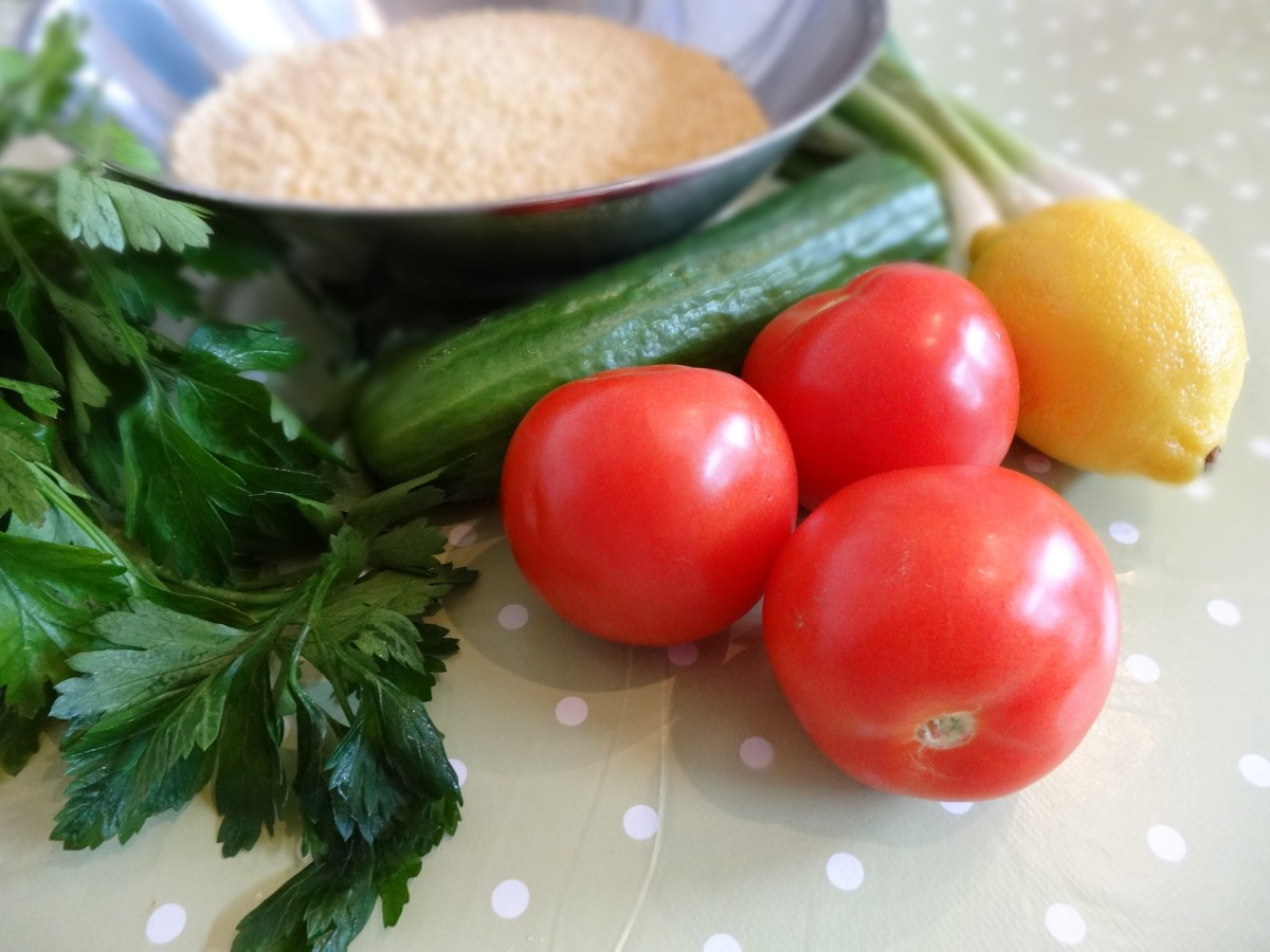 All the fresh ingredients for a traditional tabbouleh salad