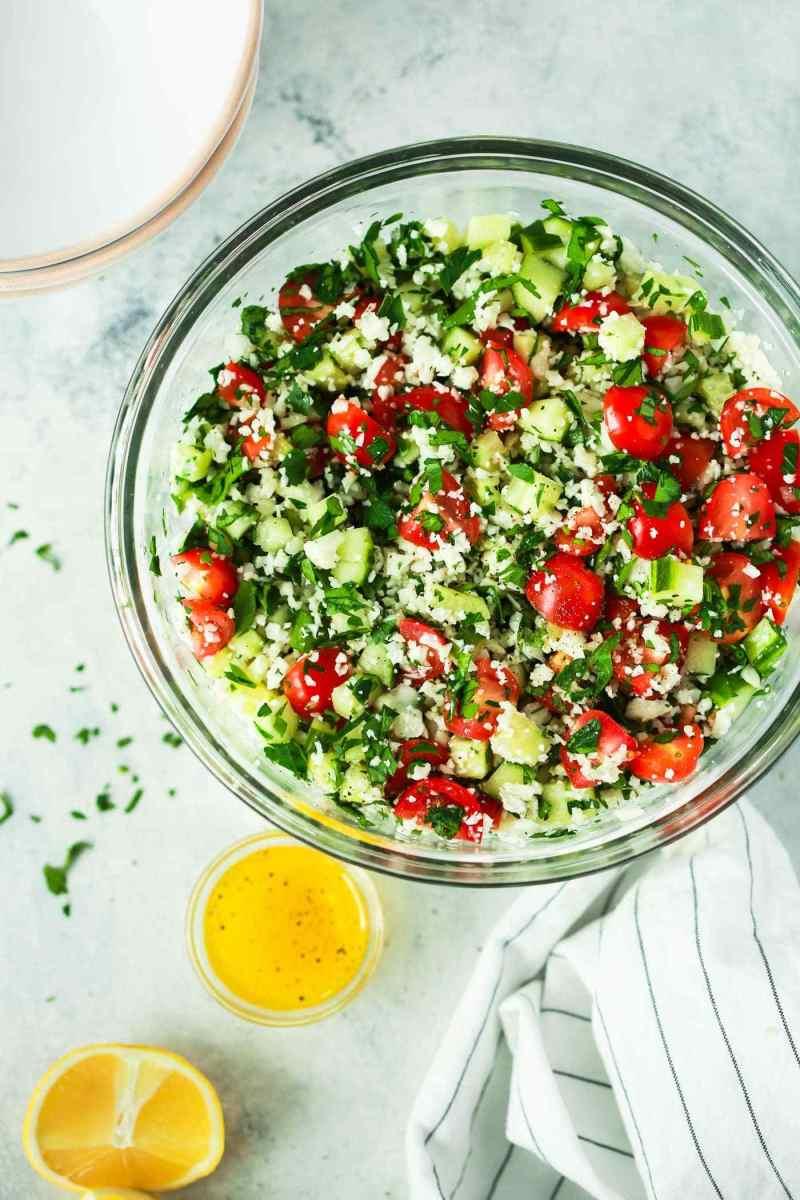 """Cauliflower """"Rice"""" Tabbouleh"""