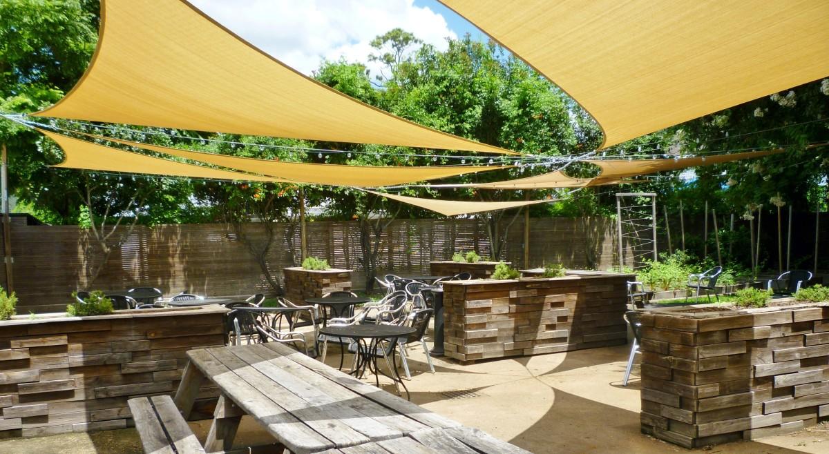 Backyard dining area plus garden