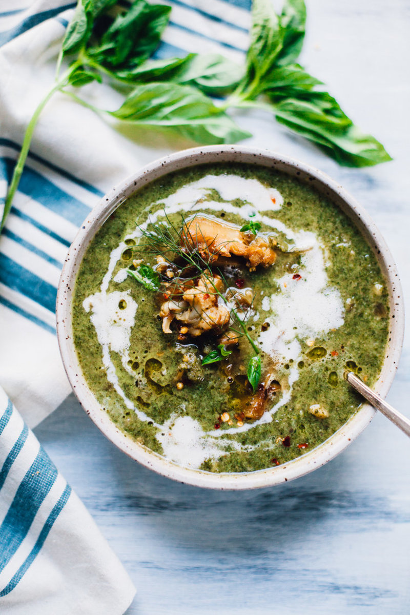 Creamy Vegan Nettles Soup with Cauliflower and Kale