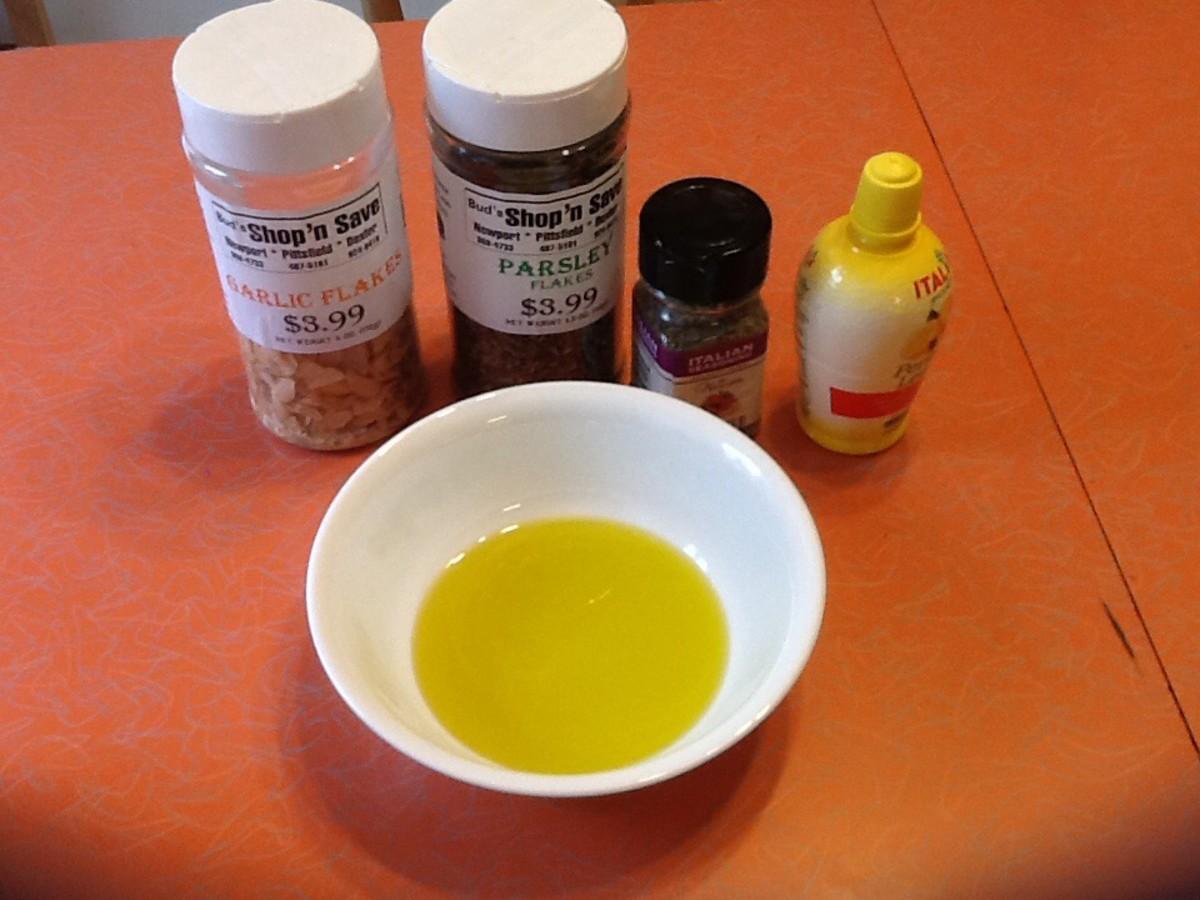 Olive oil and seasonings