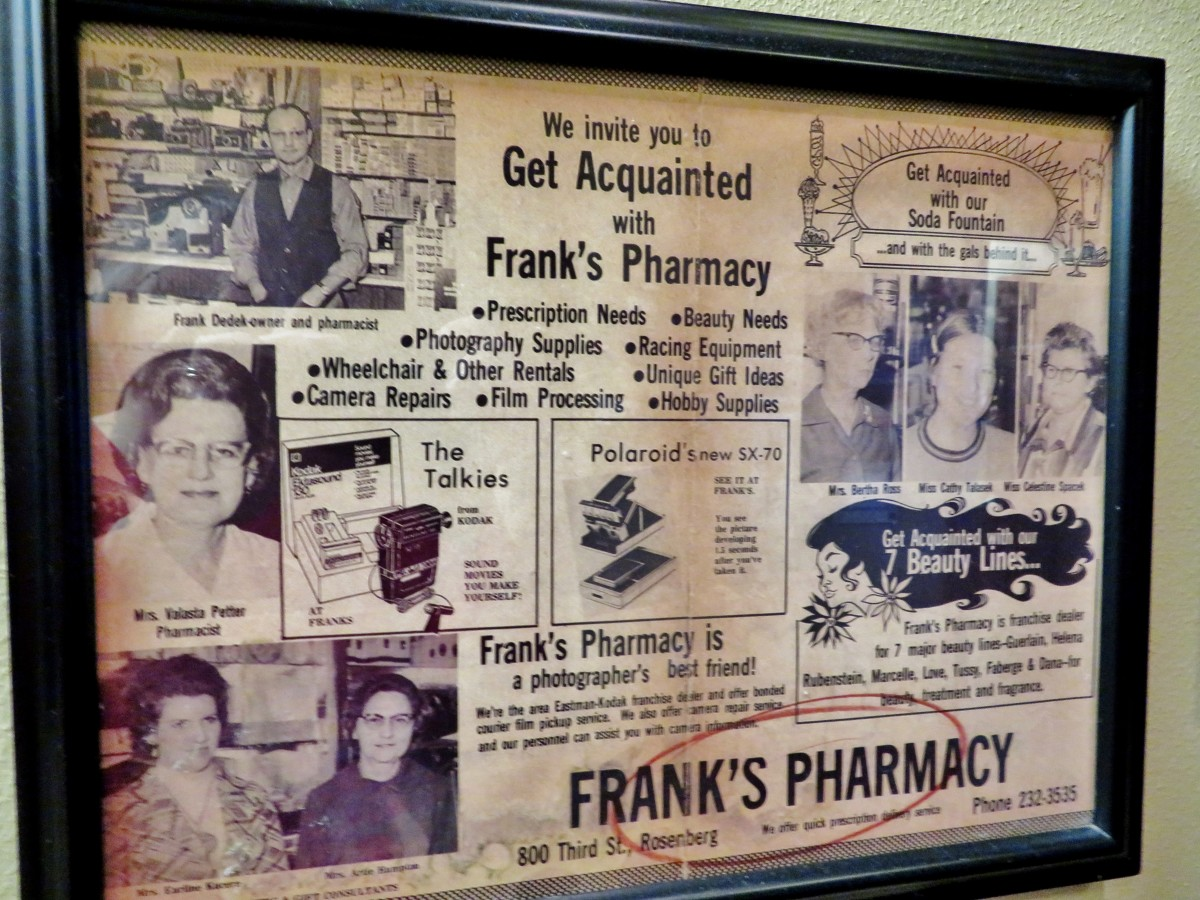 Old newspaper ads decorate the walls