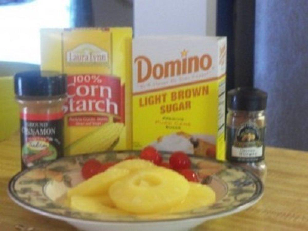 Ingredients for pineapple cherry ham glaze