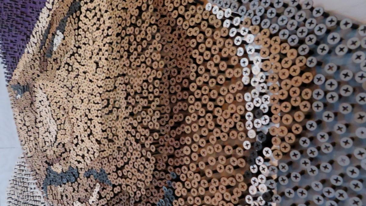 Detail of DONKEEBOY art (made using screws)