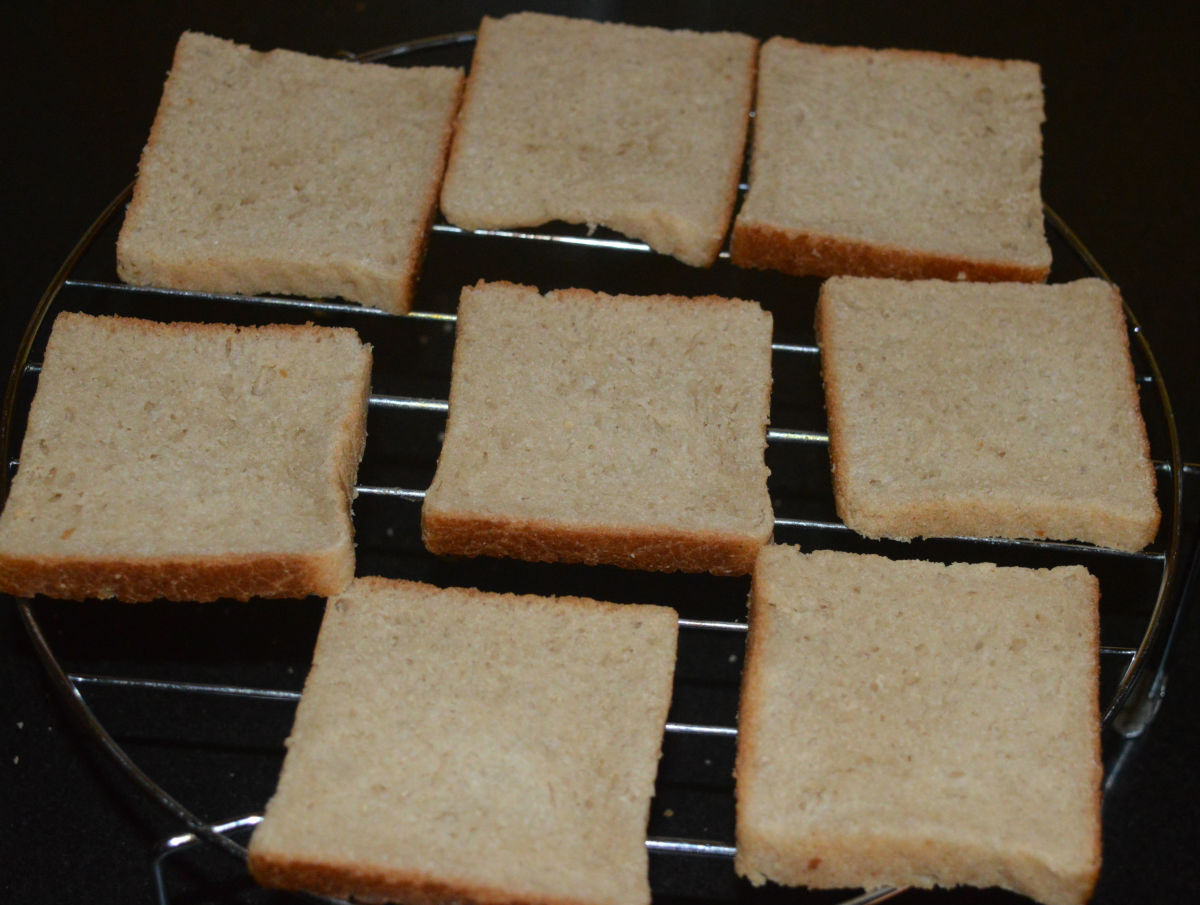 Step one: Make the bread slices firm by grilling them in the oven for a few seconds.