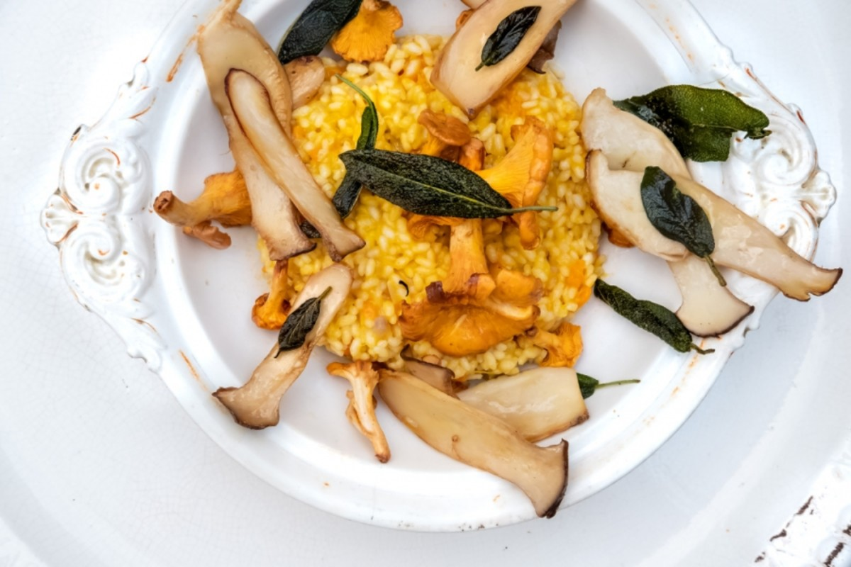 Baked pumpkin and chanterelle risotto