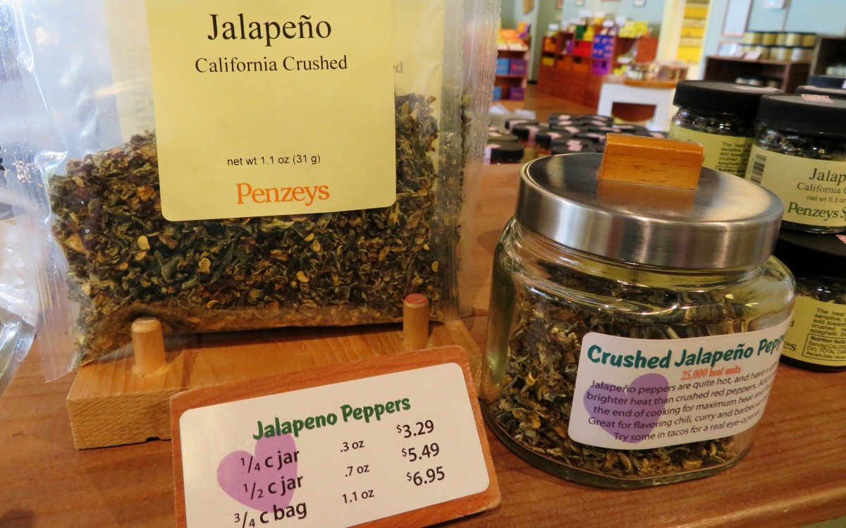 Crushed jalapenos for sale in different sized containers