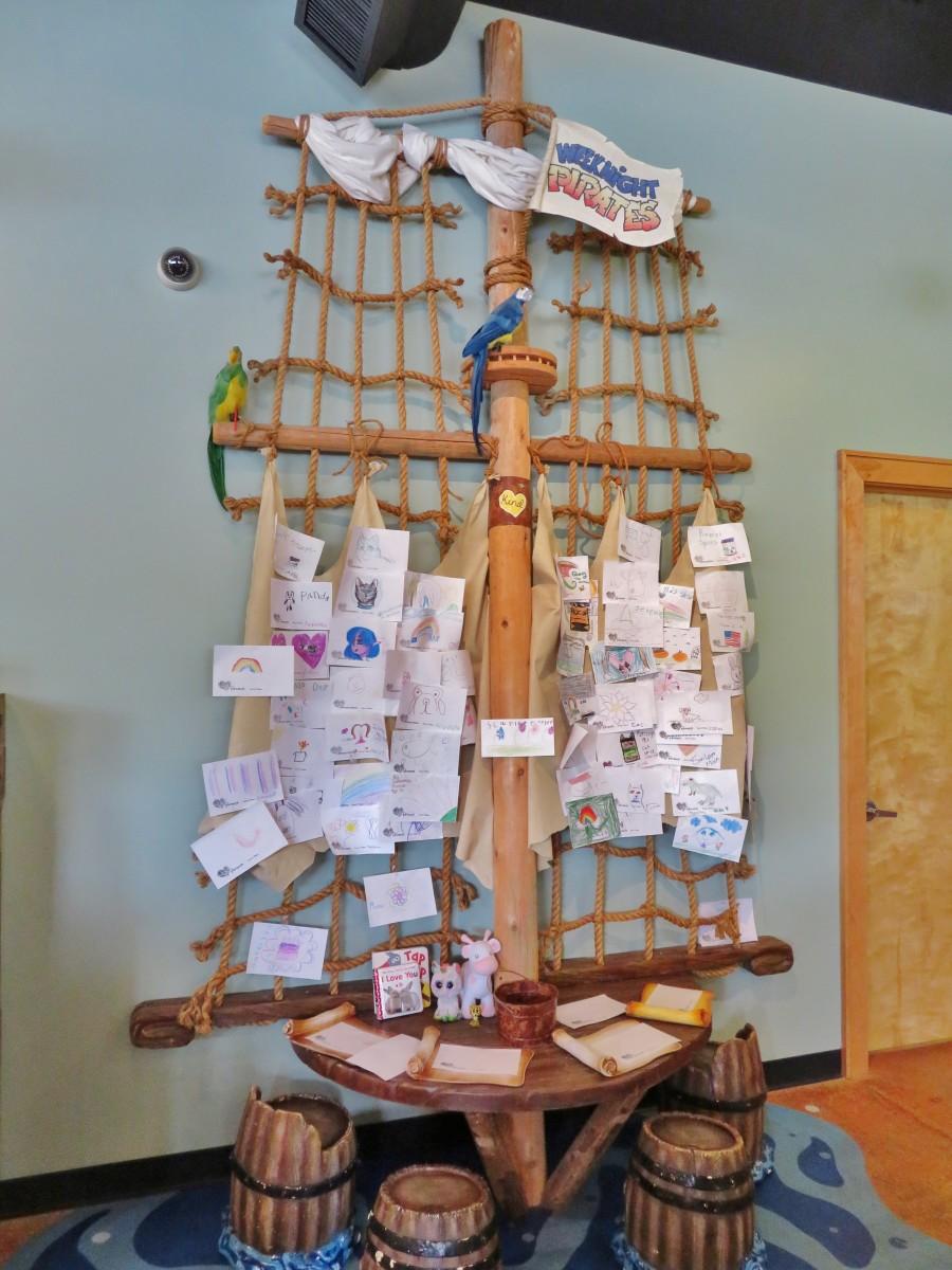 Children's art display inside of the store